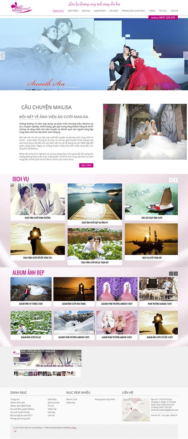 Thiết kế Mẫu website ảnh viện áo cưới AVAC01