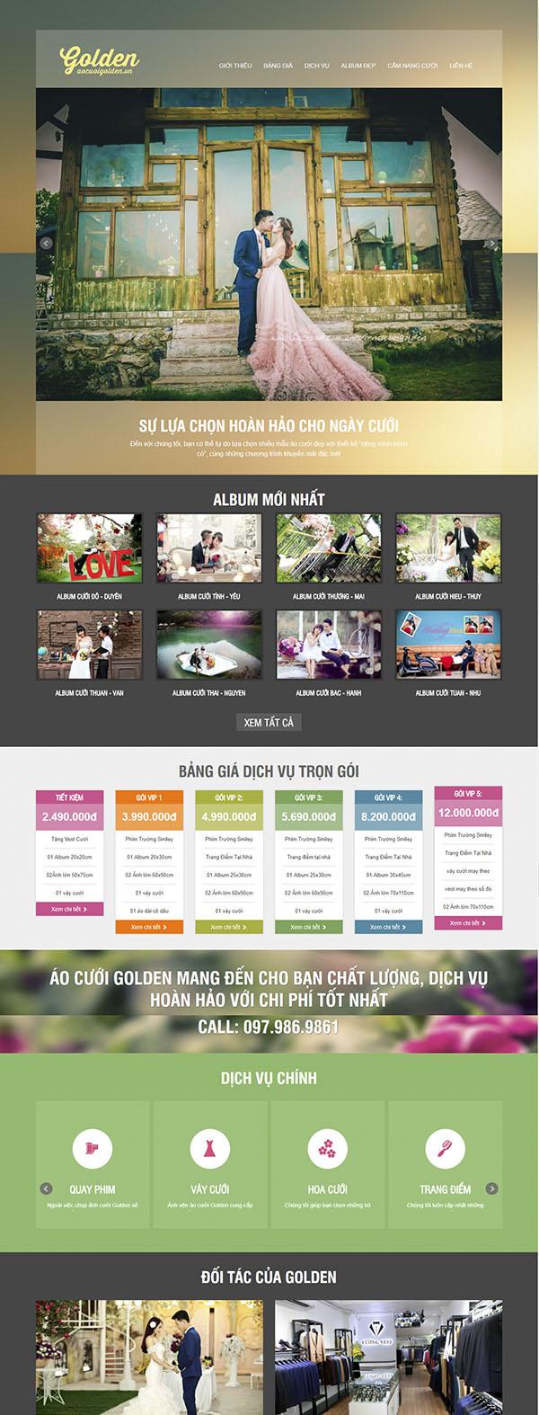 Thiết kế Mẫu website ảnh viện áo cưới AVAC02