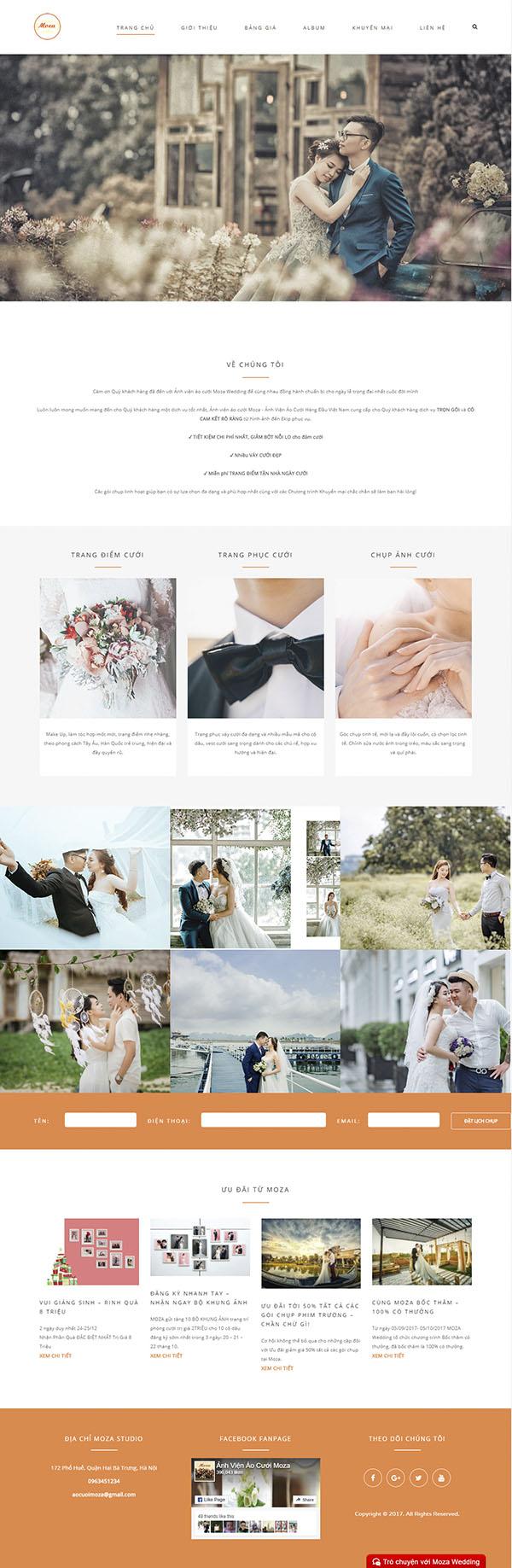 Thiết kế Mẫu website ảnh viện áo cưới AVAC03