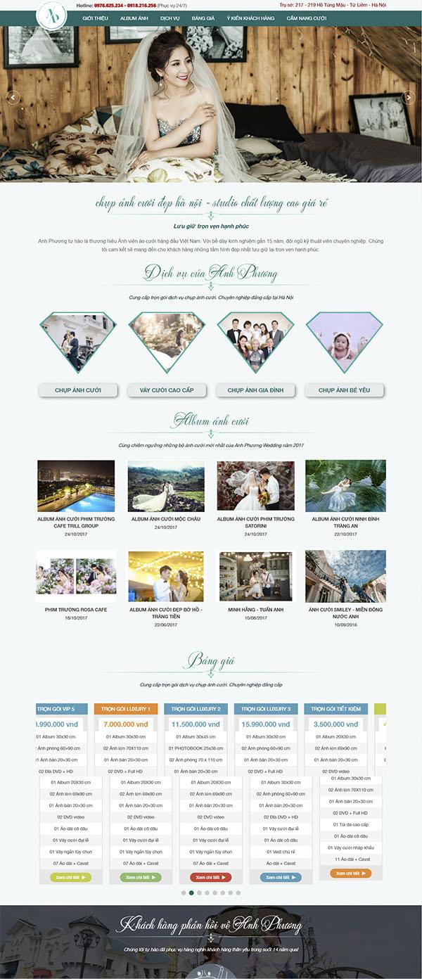 Thiết kế Mẫu website ảnh viện áo cưới AVAC05