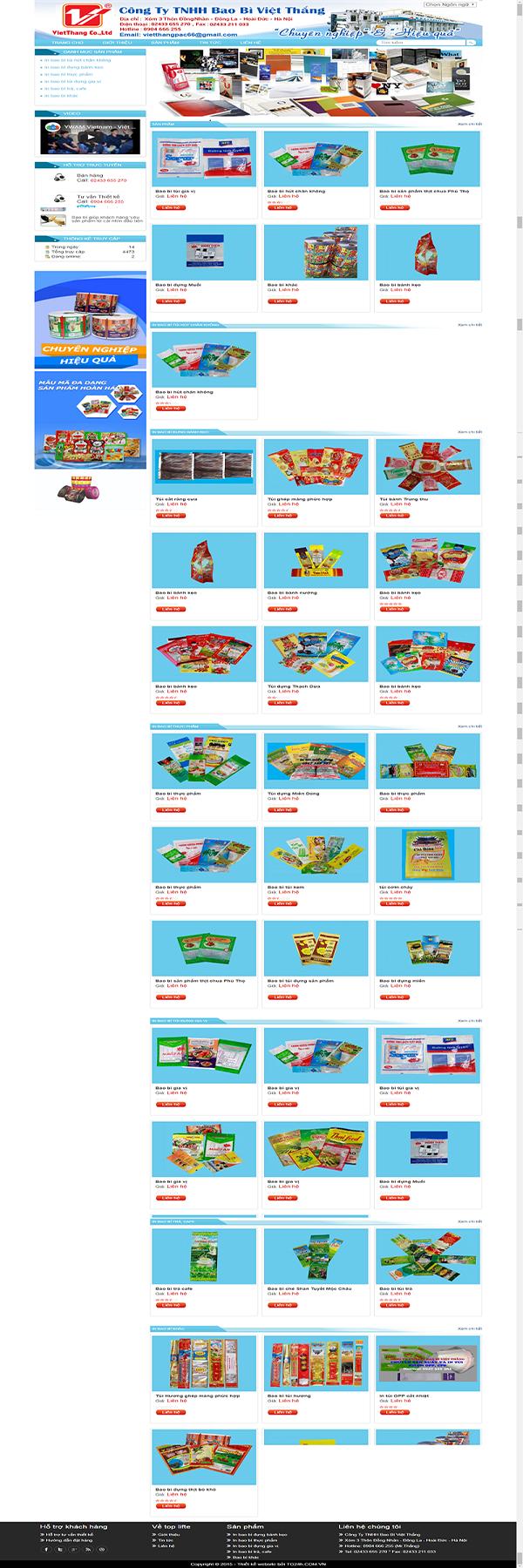 Thiết kế Mẫu website bao bì BB01
