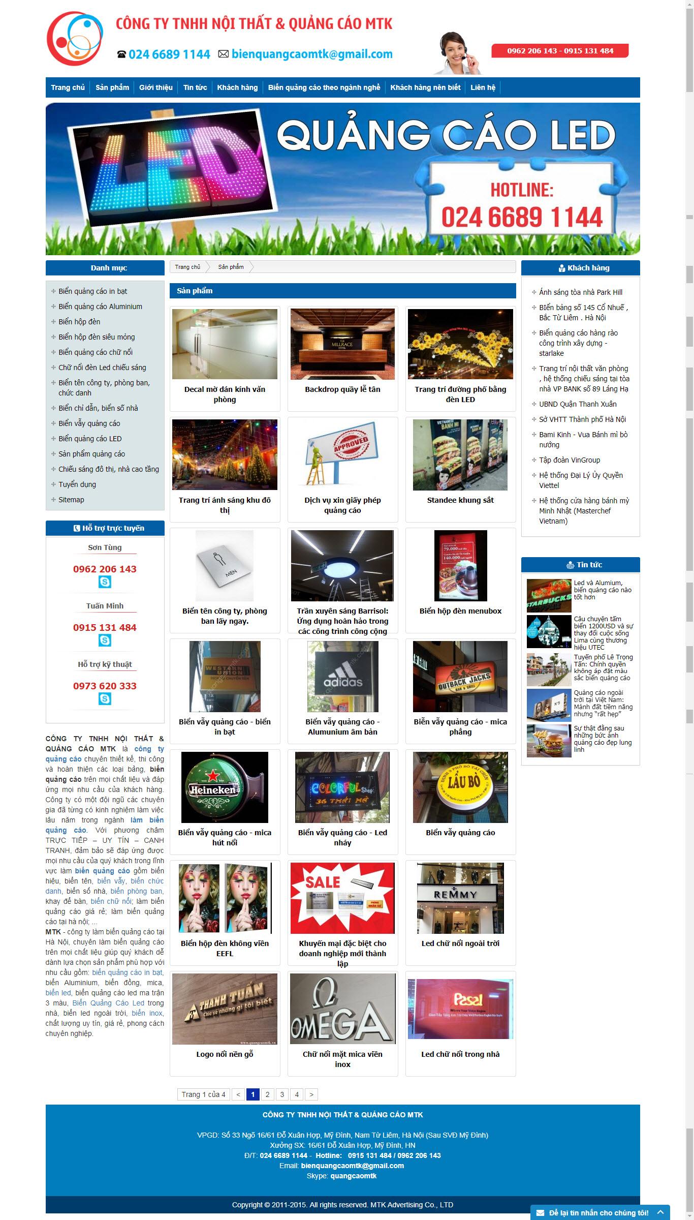 Thiết kế Mẫu website biển quảng cáo 01