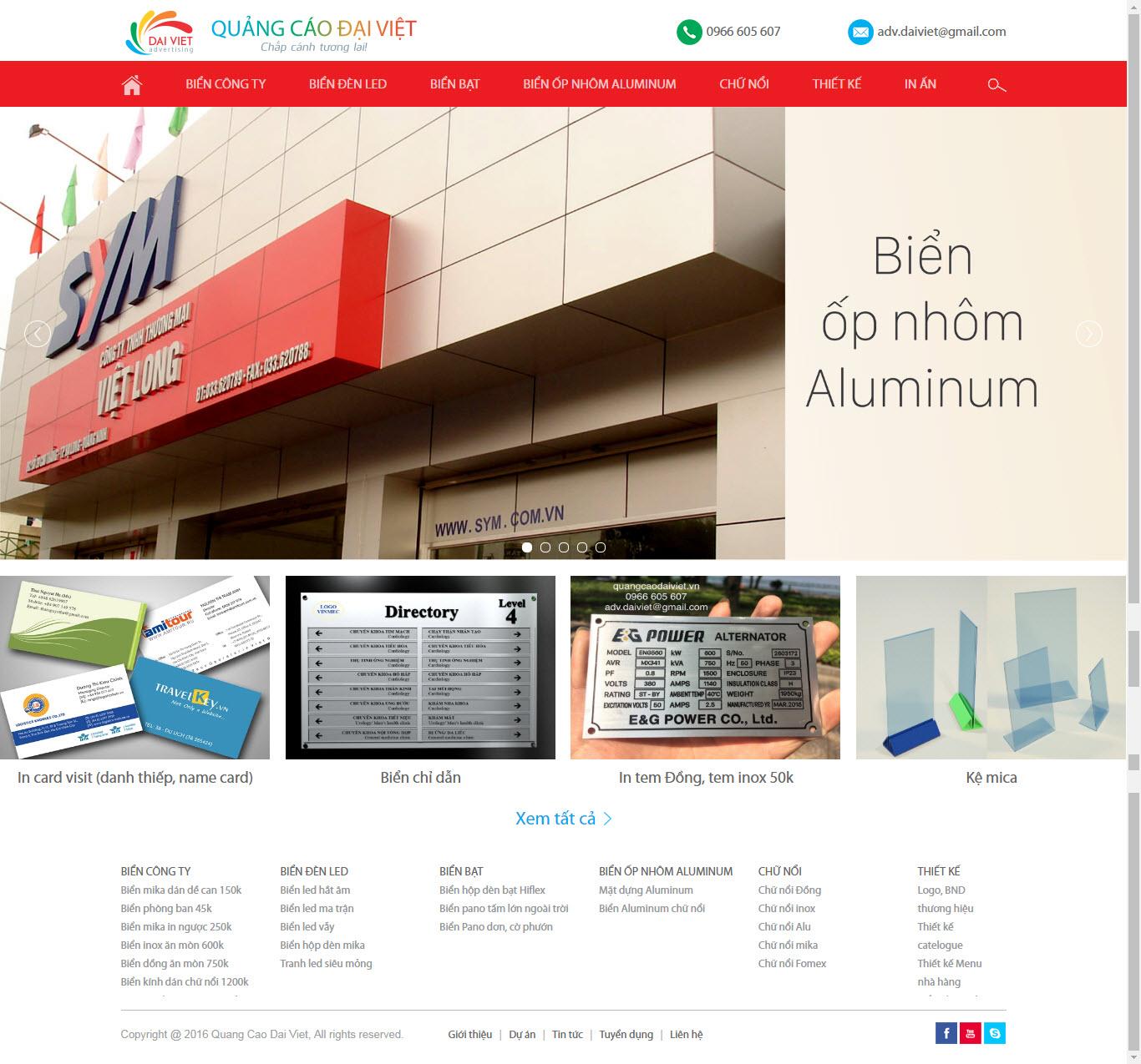Thiết kế Mẫu website biển quảng cáo 02