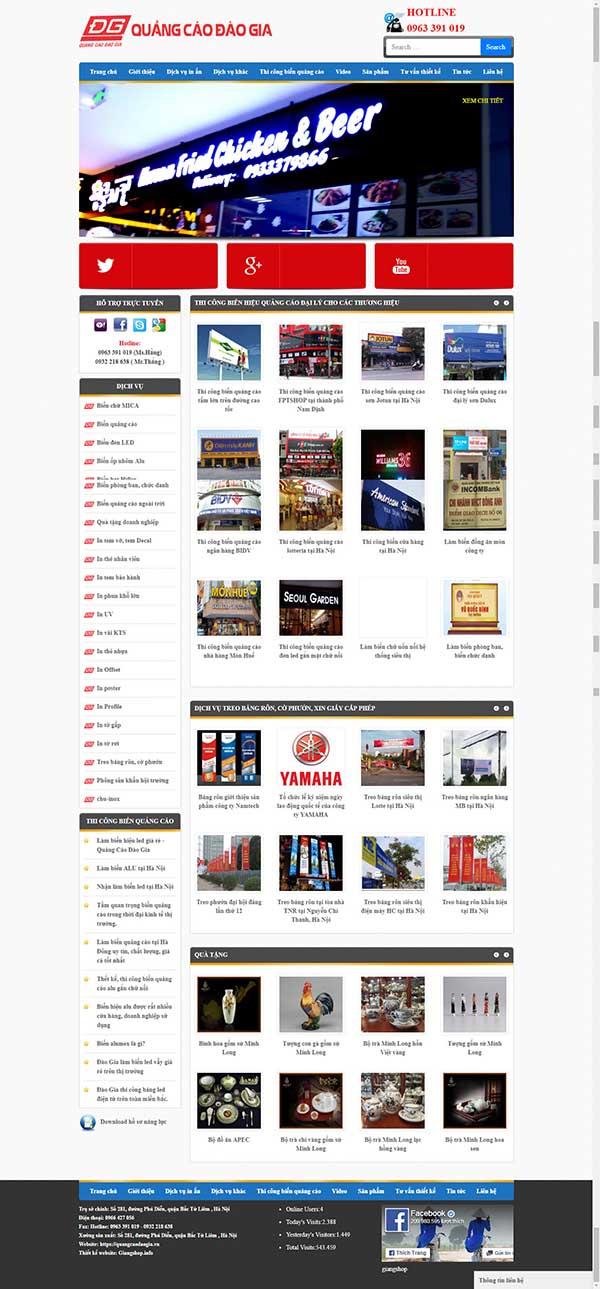 Thiết kế Mẫu website biển quảng cáo 05
