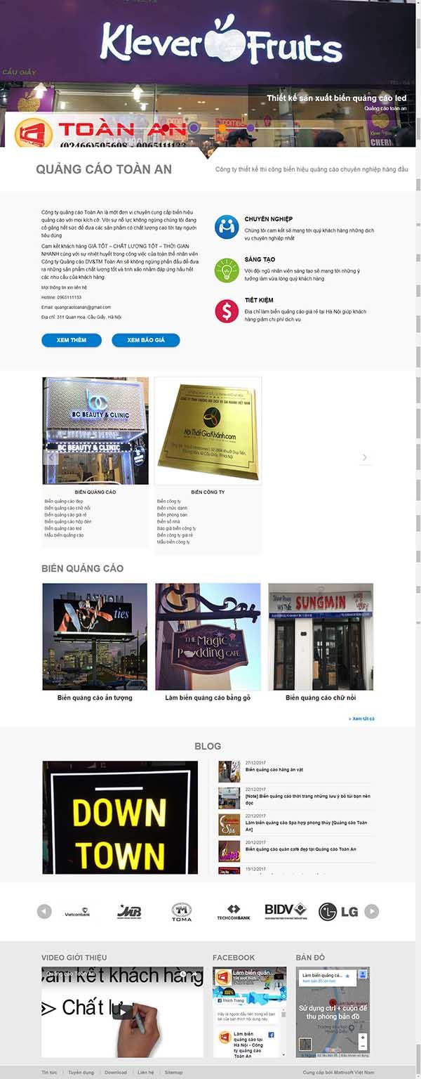 Thiết kế Mẫu website biển quảng cáo 06