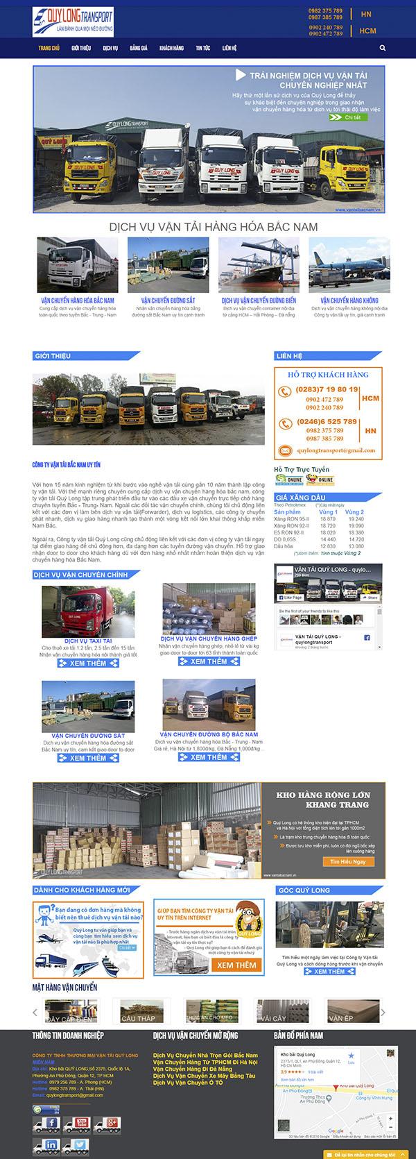 Thiết kế Mẫu Website Công Ty Vận Tải VT08