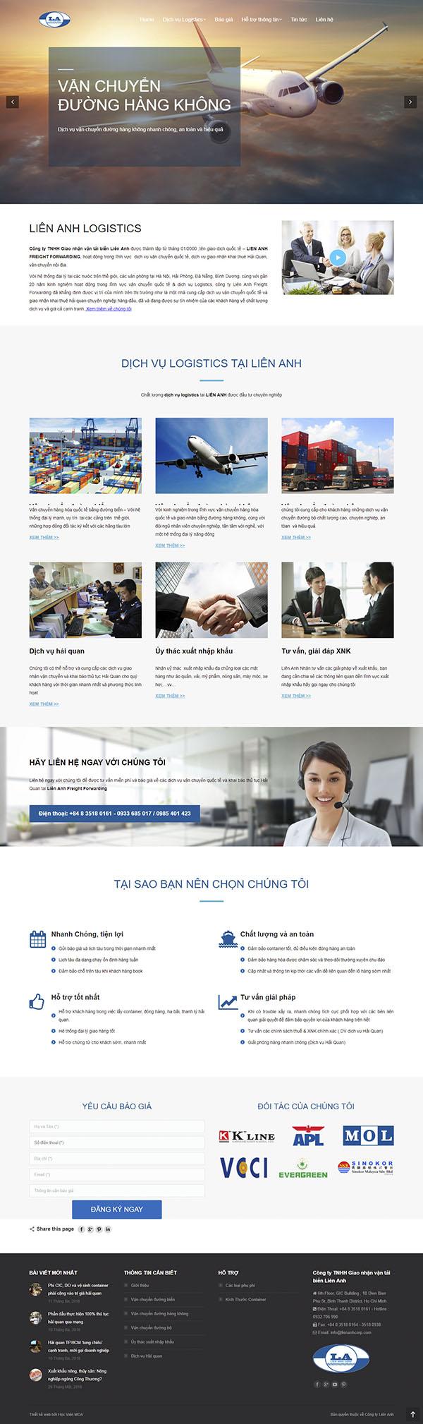 Thiết kế Mẫu Website Công Ty Vận Tải VT09
