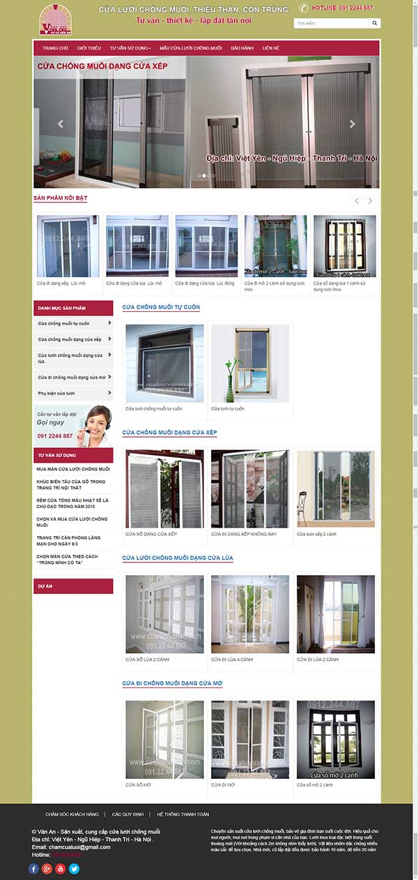 Thiết kế Mẫu website cửa lưới ,dàn phơi 02