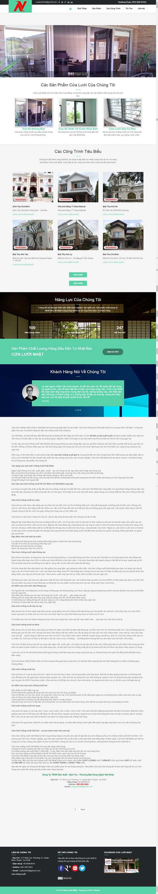 Thiết kế Mẫu website cửa lưới ,dàn phơi 05