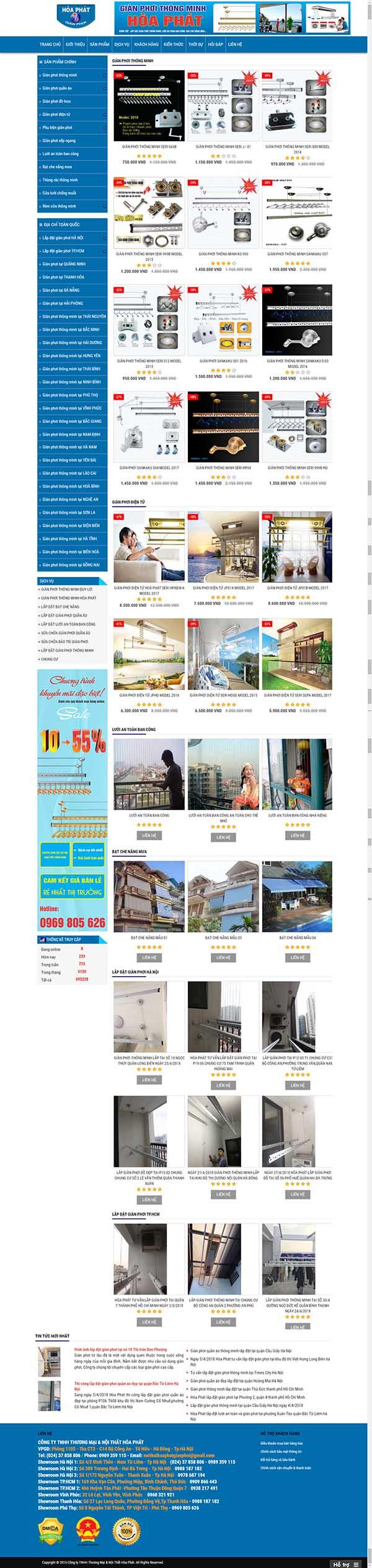 Thiết kế Mẫu website cửa lưới ,dàn phơi 07