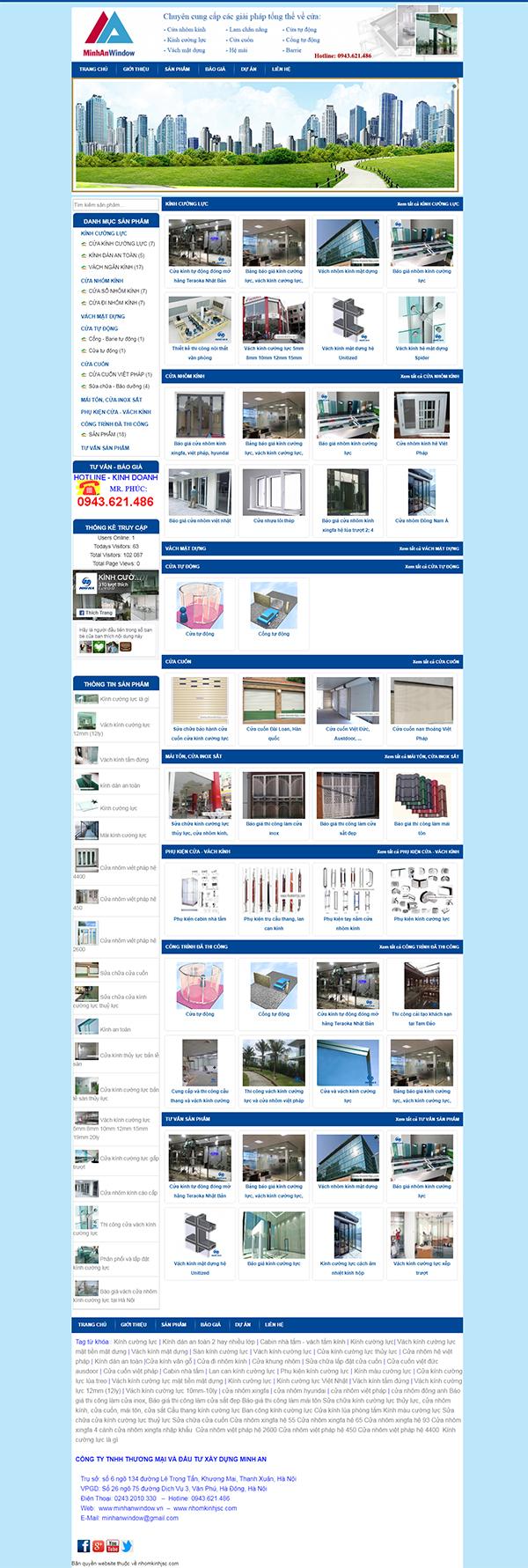 Thiết kế Mẫu Website Cửa Nhôm CN03