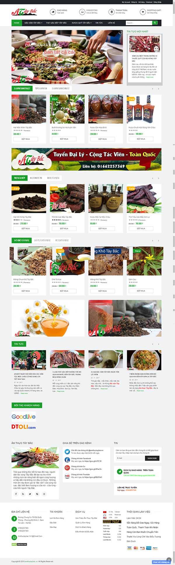 Thiết kế Mẫu website đặc sản dân tộc 03