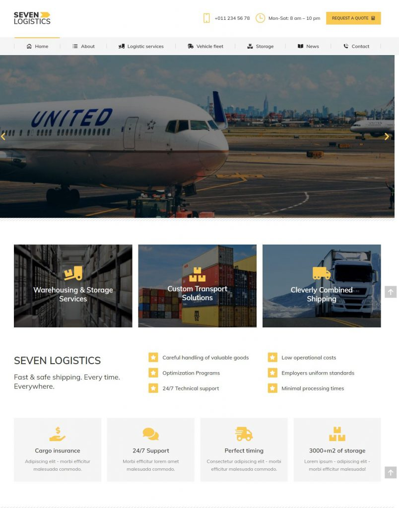 Thiết kế Mẫu website dịch vụ vận chuyển 01