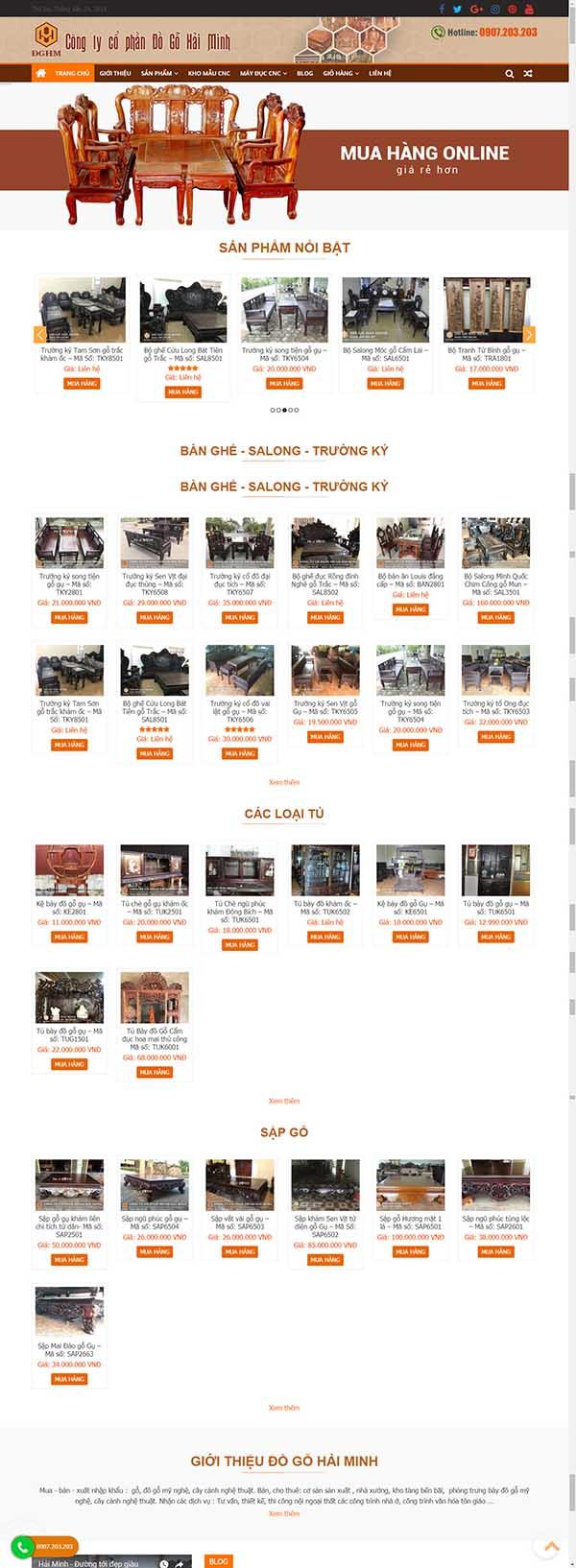 Thiết kế Mẫu website đồ gỗ 05