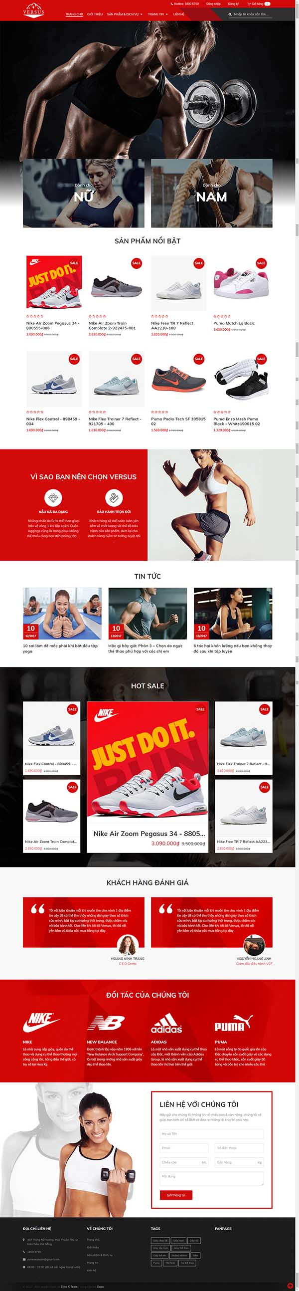 Thiết kế Mẫu website dụng cụ thể thao 02