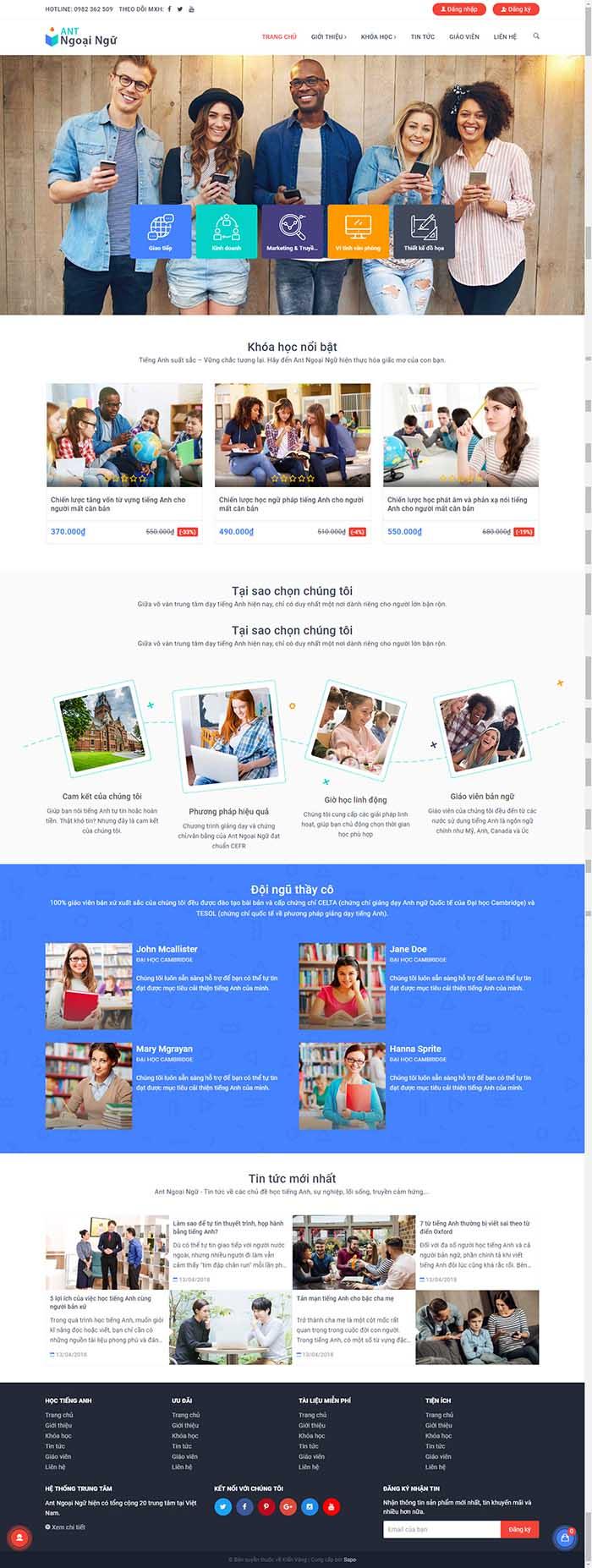Thiết kế Mẫu website giáo dục đào tạo 01