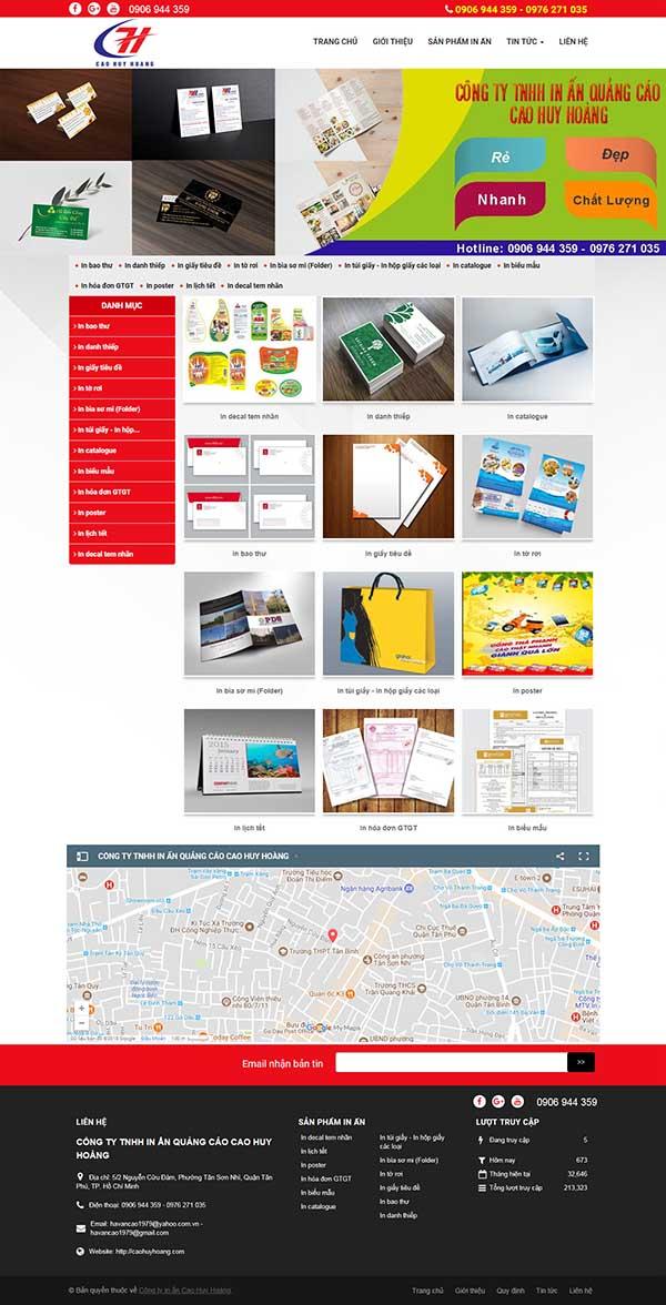 Thiết kế Mẫu website in ấn 06