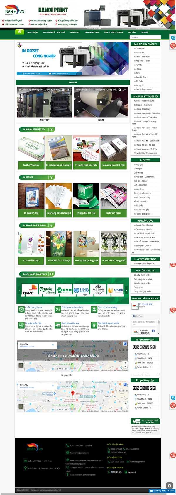 Thiết kế Mẫu website in ấn 07