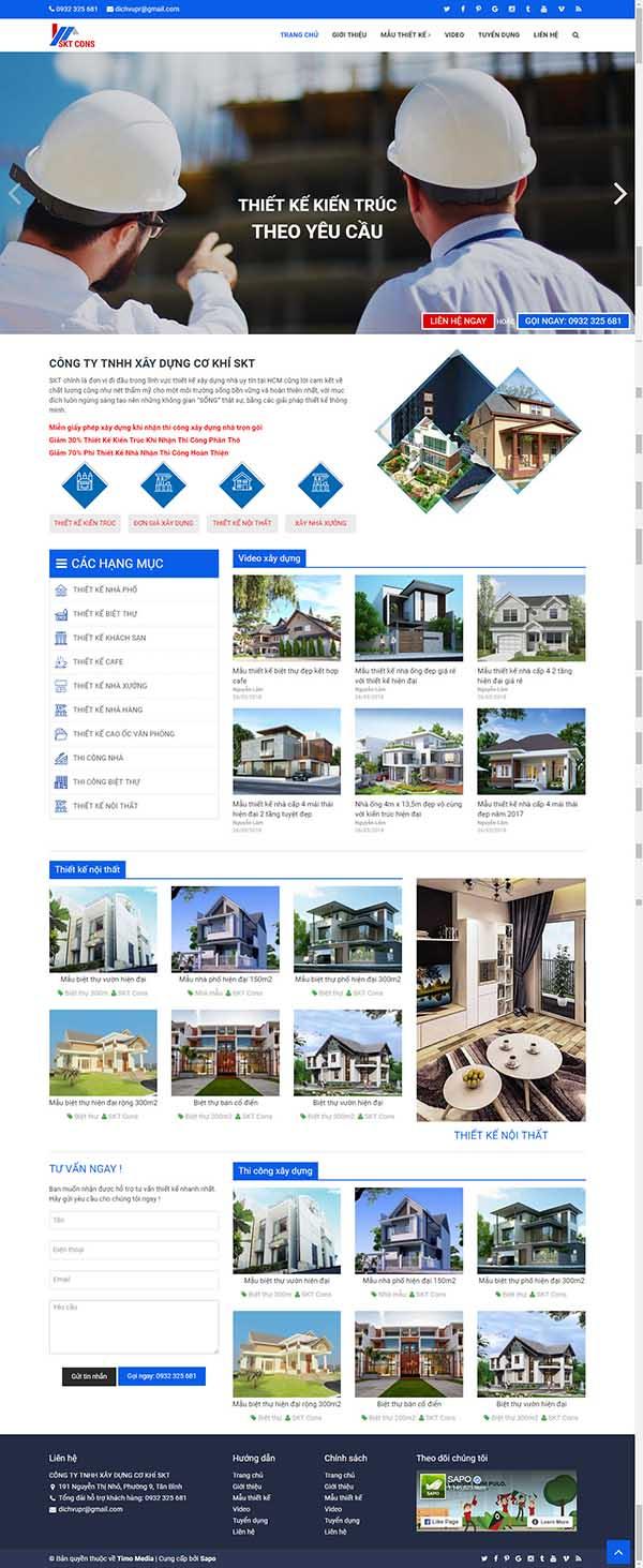 Thiết kế Mẫu website kiến trúc nội thất KTNT16
