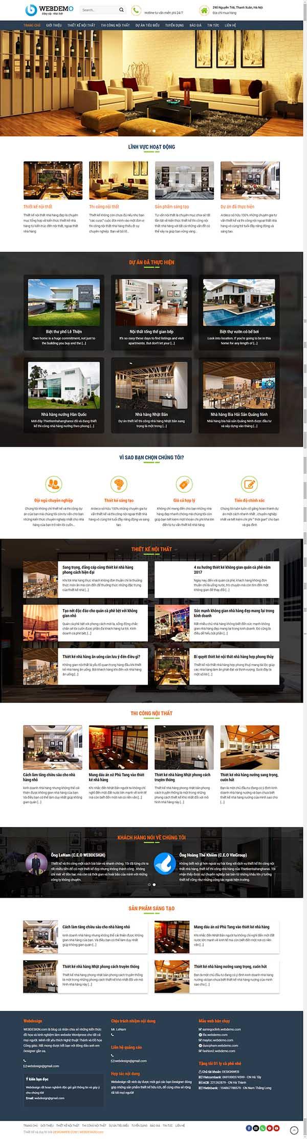 Thiết kế Mẫu website kiến trúc nội thất KTNT17