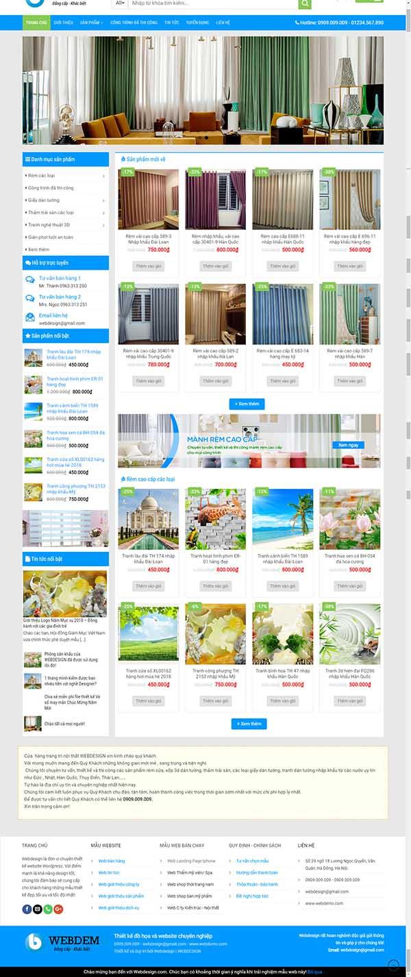 Thiết kế Mẫu website mành rèm 01