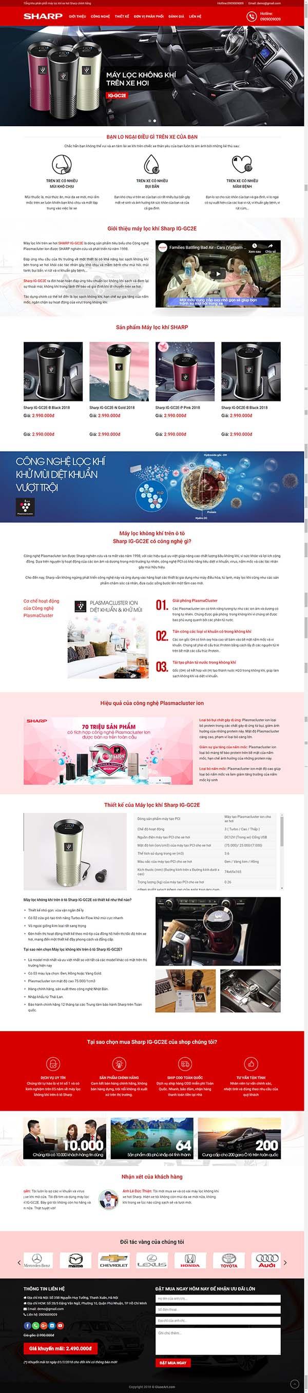 Thiết kế Mẫu website máy lọc không khí  01