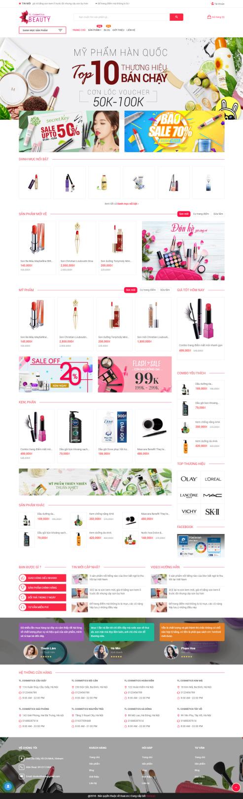 Mẫu website mỹ phẩm MP21
