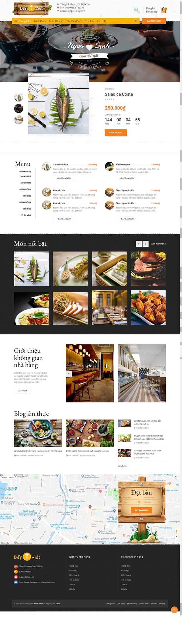 Thiết kế Mẫu website nhà hàng  khách sạn 11