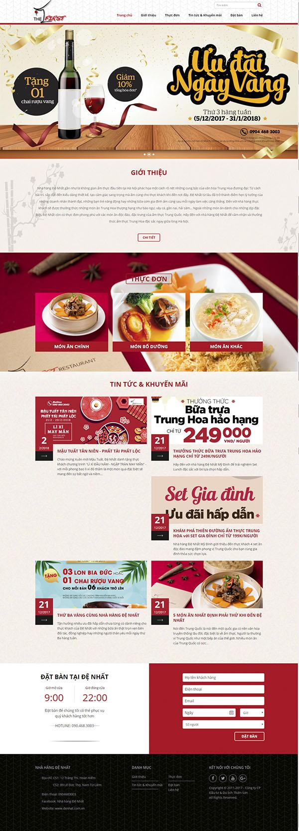 Thiết kế Mẫu website nhà hàng khách sạn NHKS05