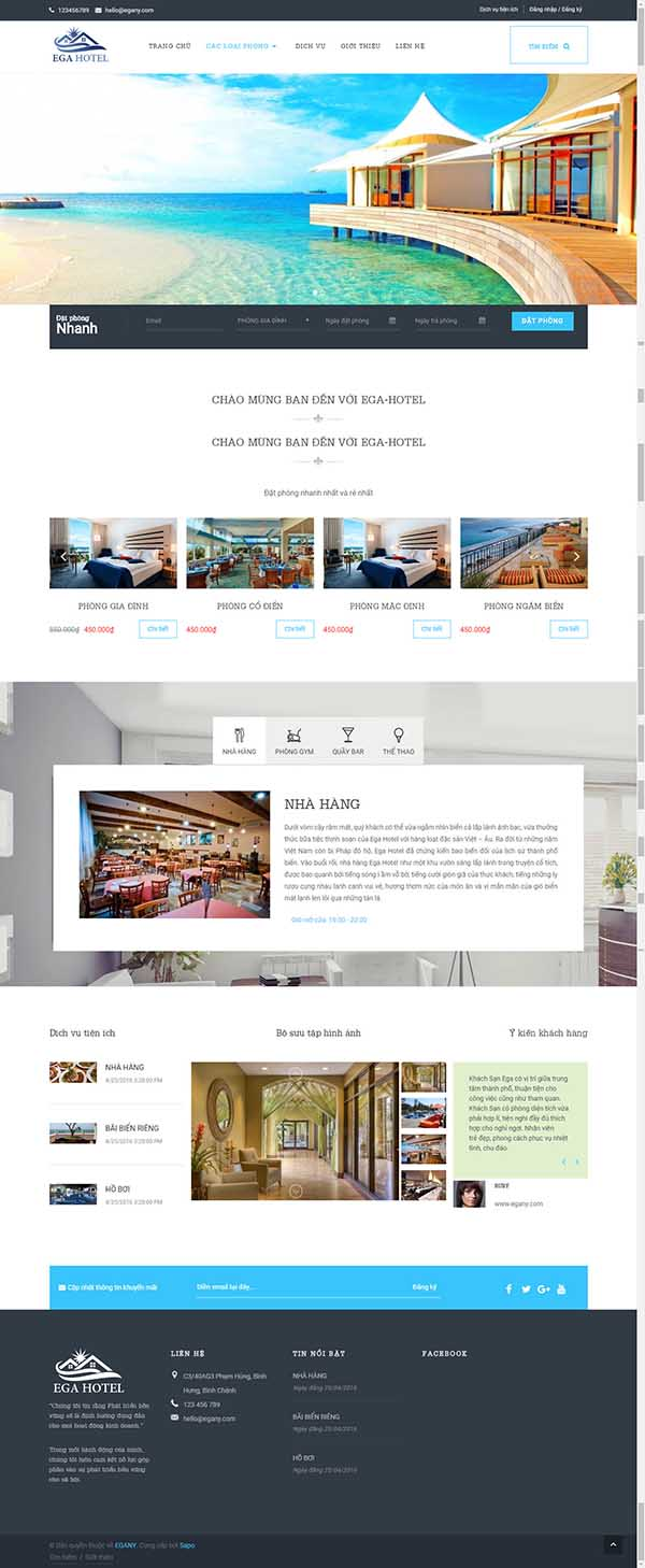 Thiết kế Mãu website nhà hàng khách sạn NHKS12