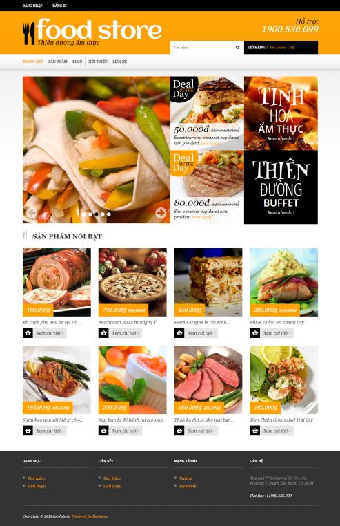Mẫu website nhà hàng khách sạn NHKS18