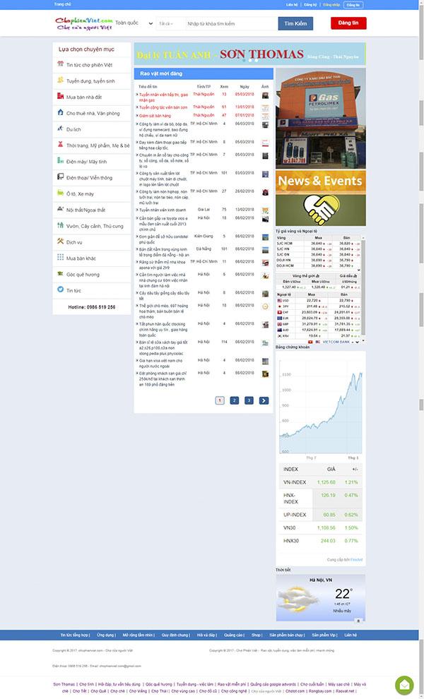 Thiết kế Mẫu website rao vặt RV01