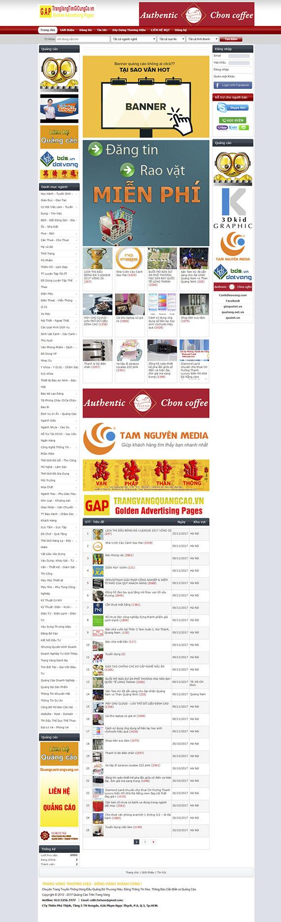 Thiết kế Mẫu website rao vặt RV02