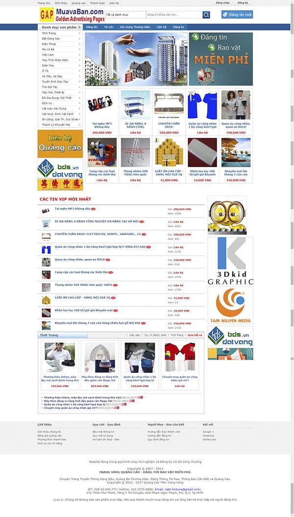 Thiết kế Mẫu website rao vặt RV03