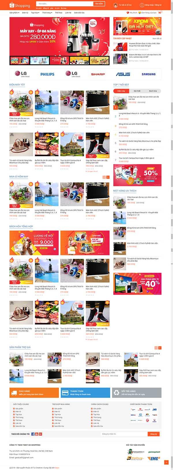 Thiết kế Mẫu website siêu thị 01