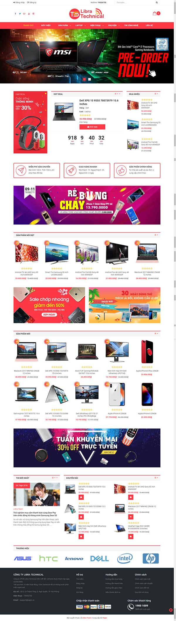 Thiết kế Mẫu website siêu thị  điện máy DM10