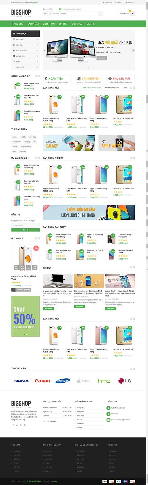 Thiết kế Mẫu website siêu thị điện máy DM11
