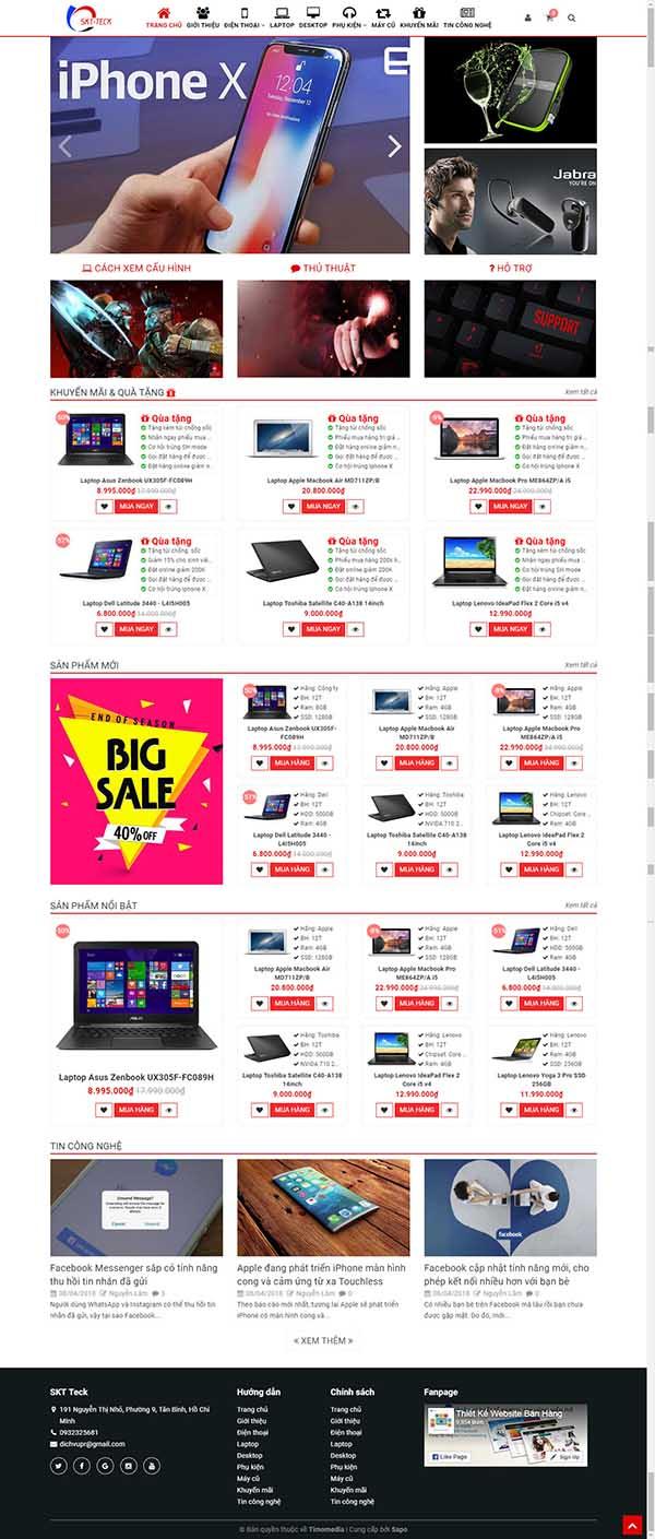Thiết kế Mẫu website siêu thị điện máy DM13