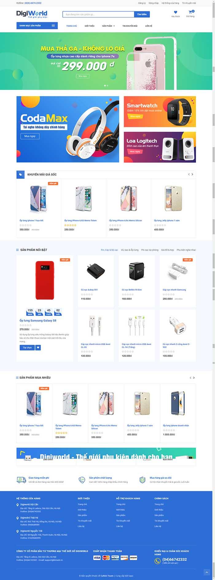Thiết kế Mẫu website siêu thị điện máy DM15