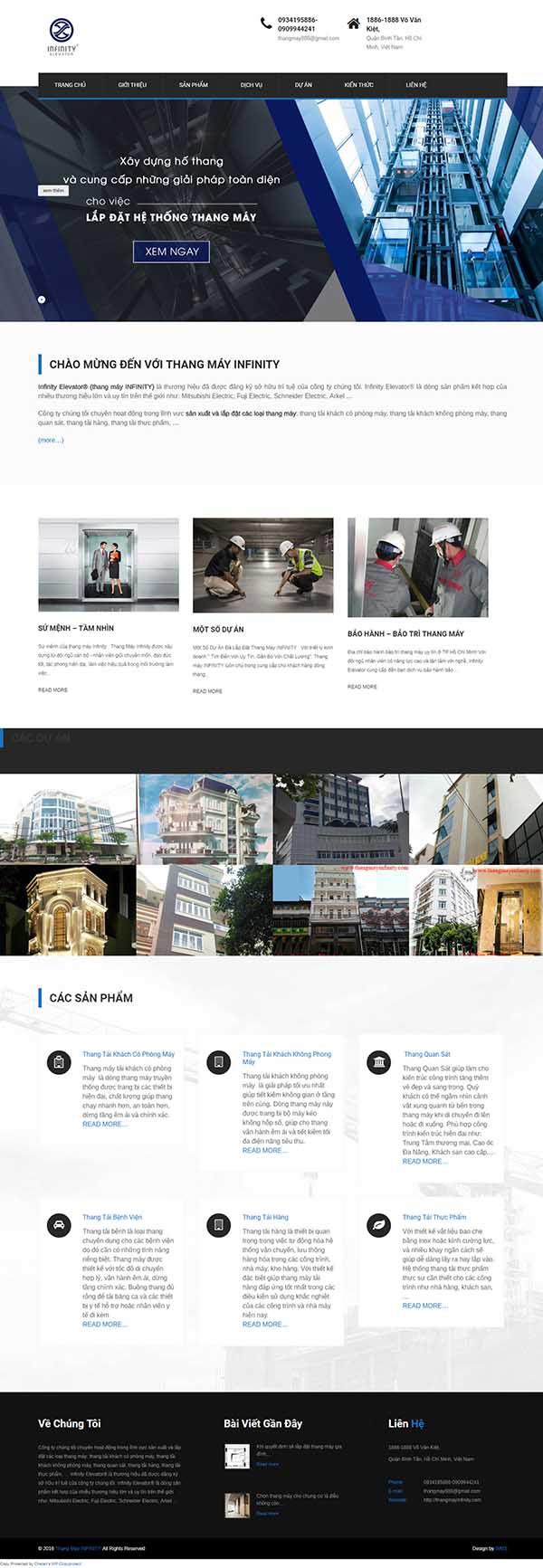 Thiết kế Mẫu website thang máy 08