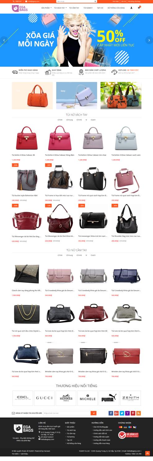 Mẫu website thời trang túi 01