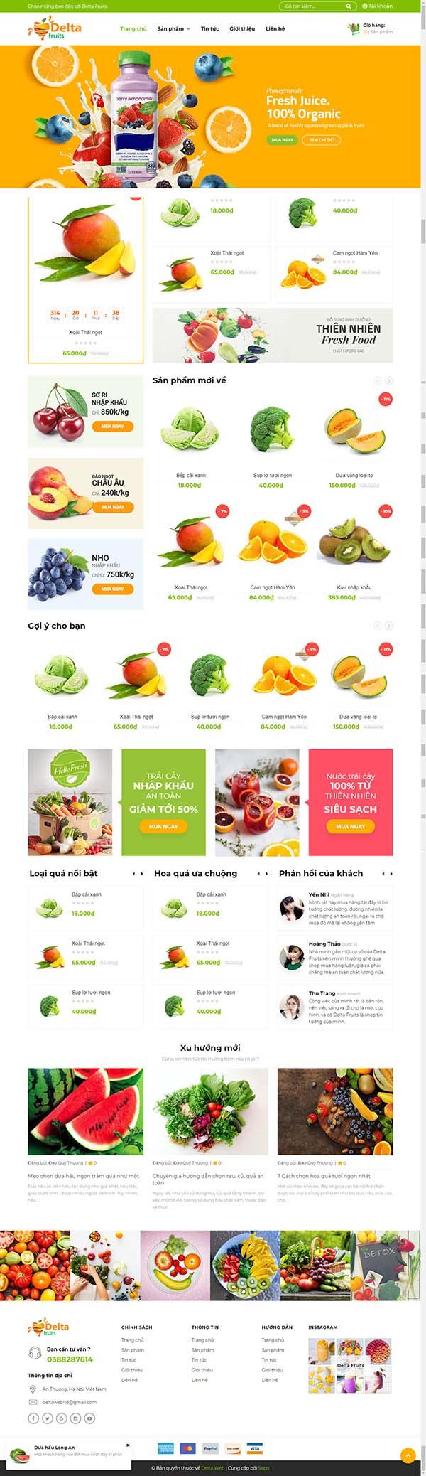 Thiết kế Mẫu website thực phẩm rau hoa quả RHQ17