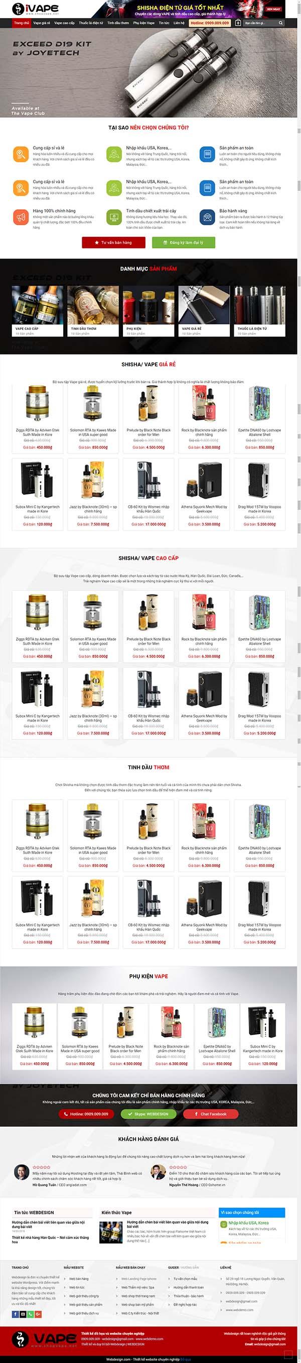 Thiết kế Mẫu website thuốc lá điện tử 01
