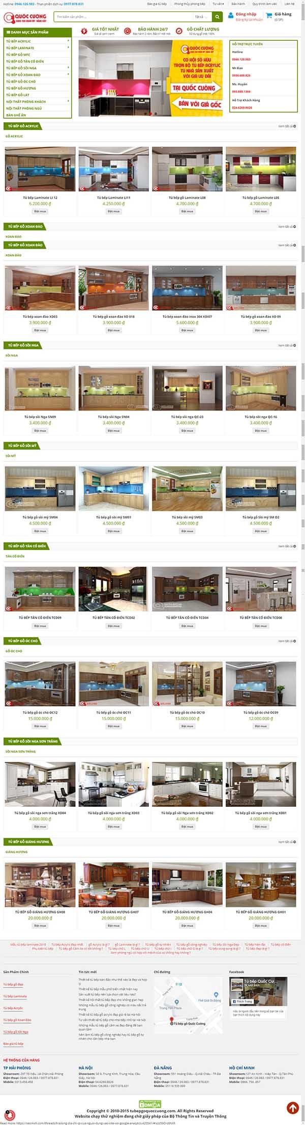 Thiết kế Mẫu website tủ bếp 01