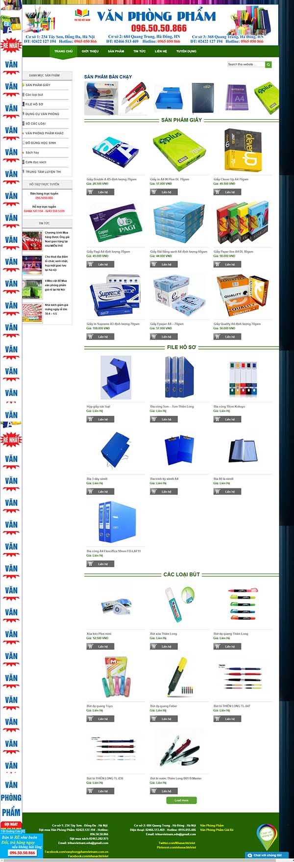 Thiết kế Mẫu website văn phòng phẩm 09