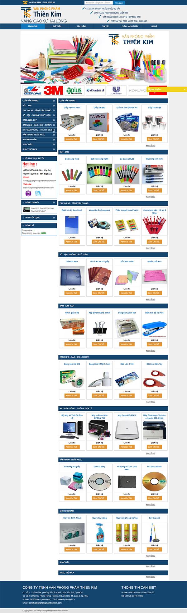 Thiết kế Mẫu Website Văn Phòng Phẩm VPP03