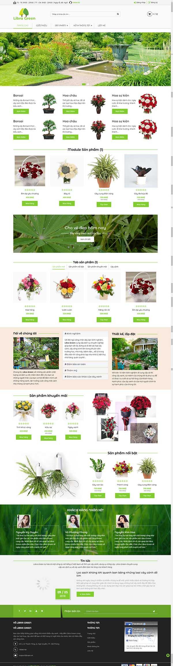Thiết kế Mẫu website về hoa - cây 01