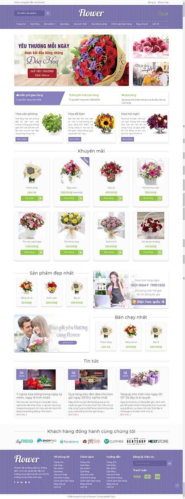 Thiết kế Mẫu website về hoa - cây 02