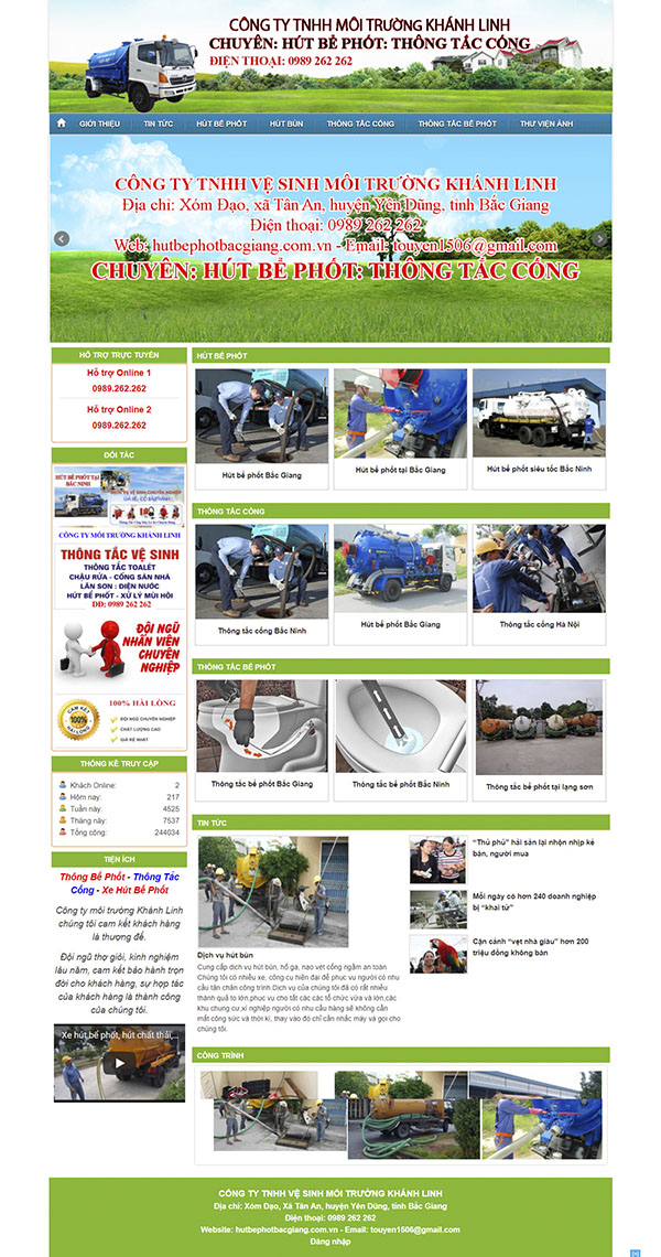 Thiết kế Mẫu website vệ sinh môi trường VSMT01
