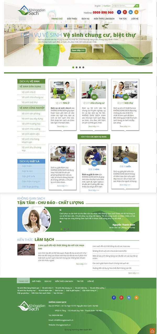Thiết kế Mẫu website vệ sinh môi trường VSMT05